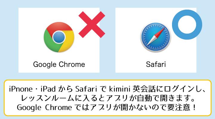 kimini英会話のアプリを使う場合はSafariから開く