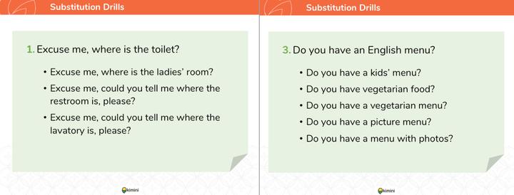 kimini英会話「接客英語コース」の教材2