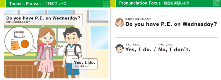 kimini英会話「ばっちり小学生英語」の教材1