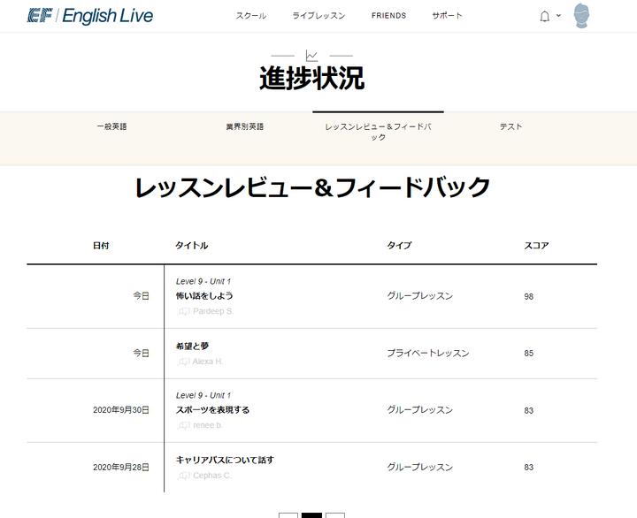 EF English Live レッスンレビュー&フィードバック