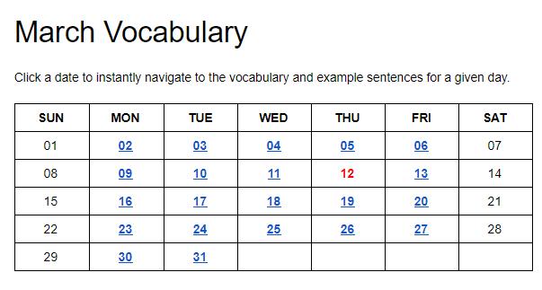 HiNative Trek 語彙のカレンダー