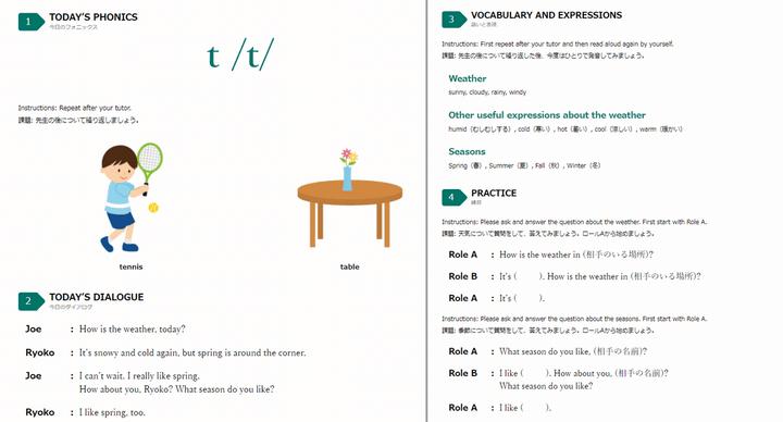 産経オンライン英会話Plus 学校教科書準拠の教材テキスト